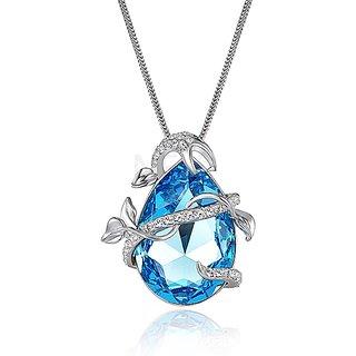 NEVI Swarovski Element Big Blue Stone  Leaf Fashion Jewellery Pendant for Women
