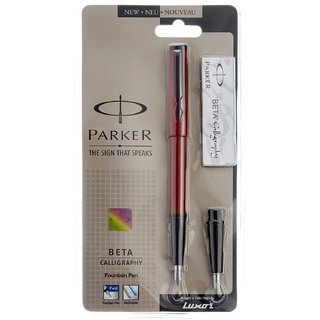 Parker Beta Standard Calligraphy FP Pen (Red)
