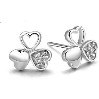 Beautiful Stylish Design Love Clover Shed 925s Silver Stud Earrings