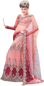 Triveni Shaded Red Chiffon Bridal Lehengaga Saree