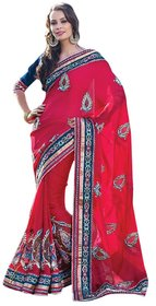 Triveni Multicolor Georgette Embroidered Saree With Blouse