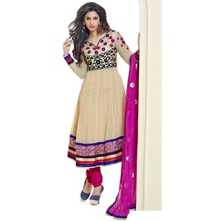 Triveni Amazing Broad Border Embroidery Anarkali Suit  (Unstitched)