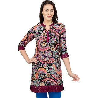 Desi Belle Casual 3/4th Sleeves Self Design Womens Tunic (DB402-025Multicolor)