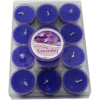 Devinez Scented (Lavender) Smokeless Tealight Candles With Crystal Case, Purple (Pack Of 12)