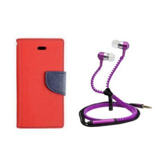 Fancy Flip Cover For Micromax Canvas Gold A300 With Zipper Earphone