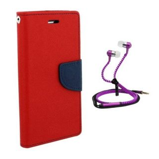 Fancy Diary Flip Cover For Micromax Canvas Xpress 2 E313 With Zipper Earphone
