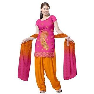 Boganvilla Cotton Pink Ladies Unstitched Dress Material