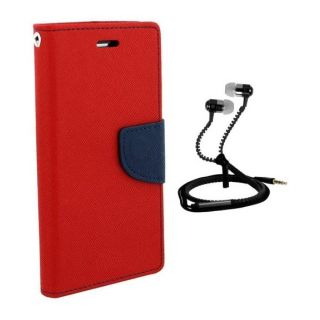 Wallet Flip Cover For Micromax Canvas Xpress 2 E313 With Zipper Earphone