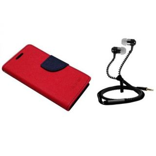 Flip Cover For  Micromax Canvas Spark Q380 With Zipper Earphone