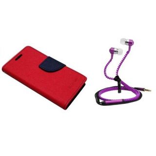 Fancy Diary Flip Cover For Micromax Unite 2 A106 With Zipper Earphone