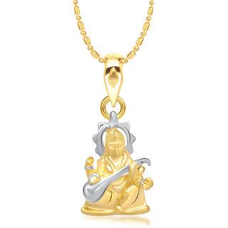 VK Jewels Goddess Saraswati Pendant Gold and Rhodium plated -  P1358G VKP1358G