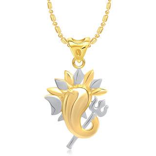 VK Jewels Ganesh Trishul Pendant Gold and Rhodium plated -  P1366G VKP1366G