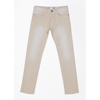 Indigo Jeanscode Slim Fit Men Jeans Cream in color Pattern Solid