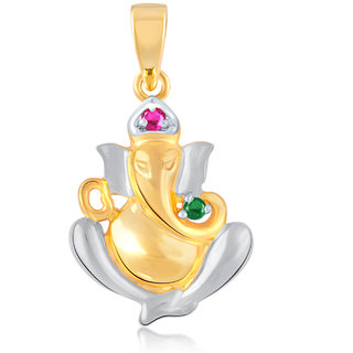 VK Jewels Ganesh Murti Pendant gold and Rhodium plated -  P1486G VKP1486G