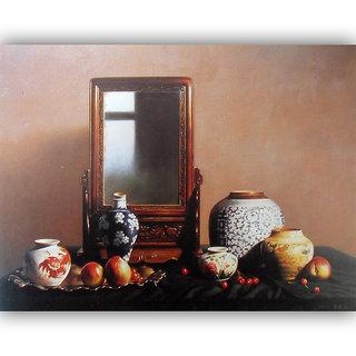 Vitalwalls Still Life Painting Canvas Art Print,Wooden Frame.Static-294-F-30cm