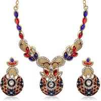 Kriaa Meenakari Red  Blue Gold Finish Austrain Stone Necklace Set - 2202106