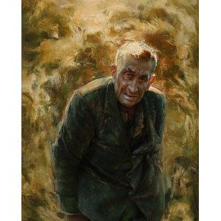 Vitalwalls Portrait Painting Canvas Art Print,Wooden Frame.Western-057-F-30cm