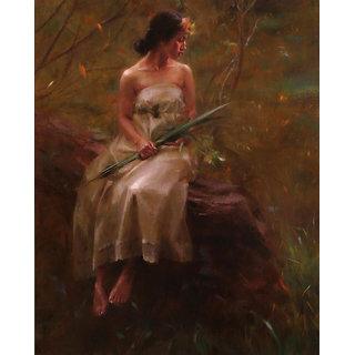 Vitalwalls Portrait Painting Canvas Art Print, Wooden Frame.Western-209-F-45cm
