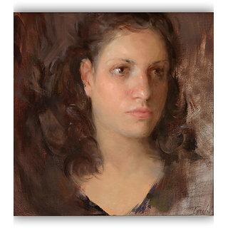 Vitalwalls Portrait Painting Canvas Art Print,Wooden Frame.Western-067-F-30cm