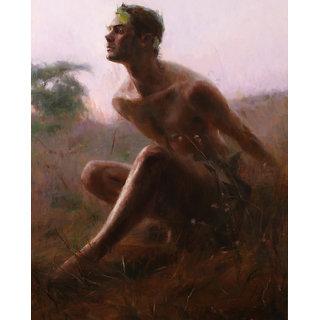 Vitalwalls Portrait Painting Canvas Art Print, Wooden Frame.Western-216-F-30cm