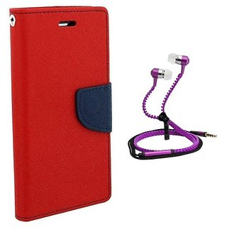 Fancy Flip Cover For Micromax Yu Yuphoria With Zipper Earphone