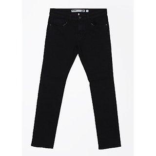 Indigo Jeanscode Men's Cotton Solid Slim Fit Black Jeans
