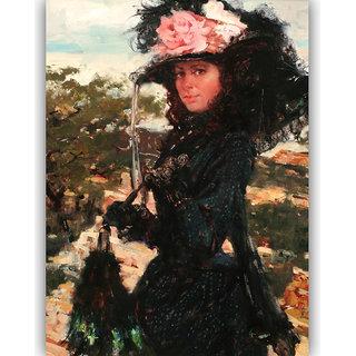 Vitalwalls Portrait Painting Canvas Art Print.Western-387-30cm