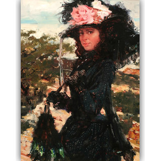 Vitalwalls Portrait Painting Canvas Art Print,on Wooden FrameWestern-387-F-30cm