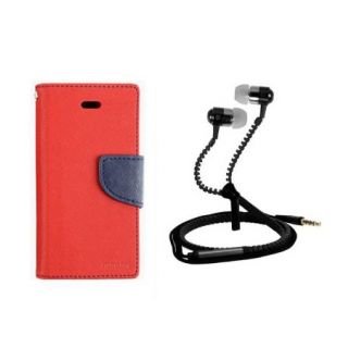 Wallet Style Flip Cover For  Micromax Canvas Colours A120 With Zipper Earphone