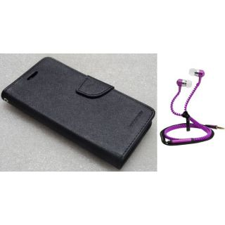 Wallet Flip Cover For Microsoft Lumia 520 With Zipper Earphone