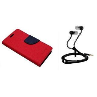 Fancy Flip Cover For HTC Desire 516 With Zipper Earphone