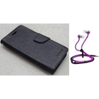 Wallet Flip Cover For HTC Desire 620 With Zipper Earphone