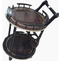 Round Serving or Food trolley- 2 Shelves , LE-SER-007, Knock down construction