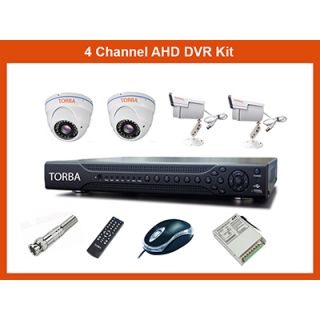 TORBA, 4 CHANNEL AHD DVR WITH 4 AHD (1.3MP) CAMERAS