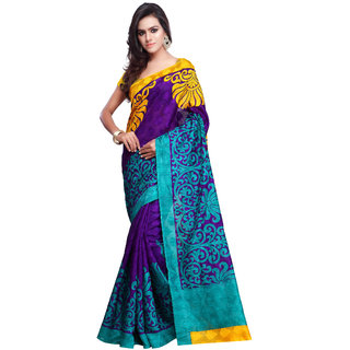 Prafful Purple Cotton Printed Saree With Blouse