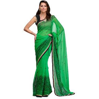 Prafful Green Chiffon Printed Saree With Blouse