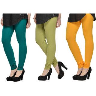 Cotton Lycra Legging Combo Of 3 - Dark Blue,Light Green,Yellow