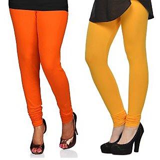 Cotton Lycra Legging Combo Of 2 - Orange, Yellow