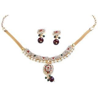 Kriaa Pearl Drop Austrian Stone Maroon  Green Necklace Set -1101018