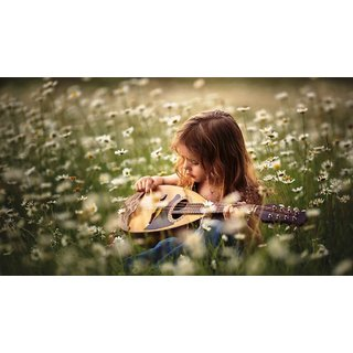 Navya Poster Of Cute Baby Withguitar In Garden (BABY00088)