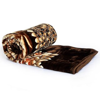 Floral Mink Double Bed Blanket - Coffee Brown