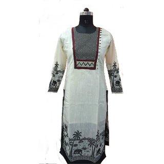 Chanderi Black And White Long Kurti