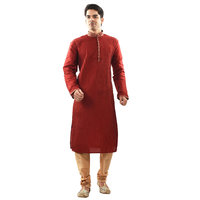 Sanwara MenS Ethnic Self Design Red Kurta Churidar Set