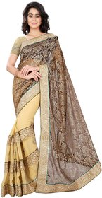 Aaina Beige Net Printed Saree With Blouse