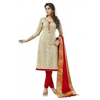 3480d71846 Shopeezo Daily Wear Beige Color Cotton Dress Material (Unstitched)
