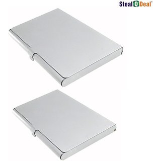 Stealodeal Executive Steel 10 Card Holder(Set of 2, Silver)