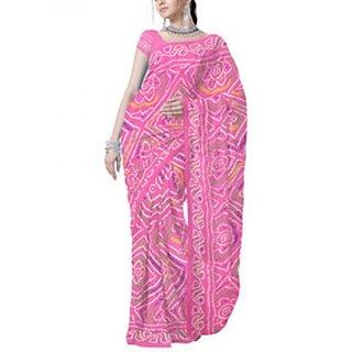 Pink Moss Crepe Bandhej Saree