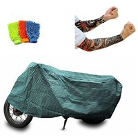 Bull Rider Brand Bike body cover with mirror pocket Water resistant for Bajaj Pulsar 150 DTS-i+ Free (Arm Tattoo + Microfiber Gloves) Worth Rs 250