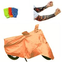Bull Rider Brand Body cover without mirror pocket Dustproof for Bajaj Platina+ Free (Arm Tattoo + Microfiber Gloves) Worth Rs 250