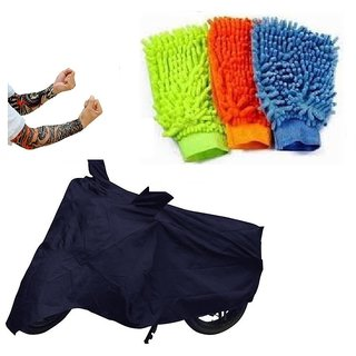 Bull Rider Bike Body Cover with Mirror Pocket for Black (Colour Black) + Free (Arm Tattoo + Microfiber Gloves) Worth Rs 250